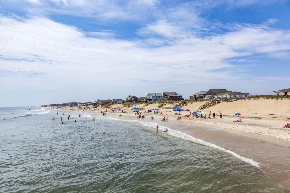 Beach goers on the Outer Banks
