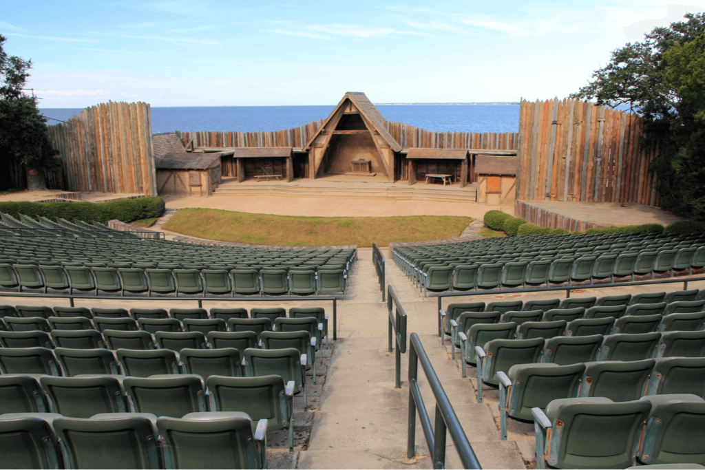 Picture of The Lost Colony theater space and a piece of Outer Banks history.
