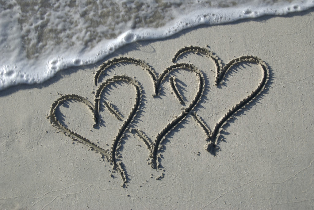 Hearts in the sand at the sea ranch resort, valentine's day hearts obx