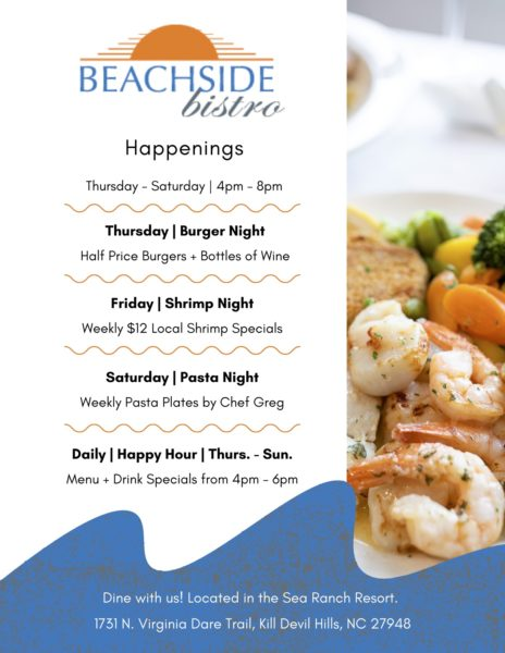 Spring and Summer Bistro Happenings Flyer 2021