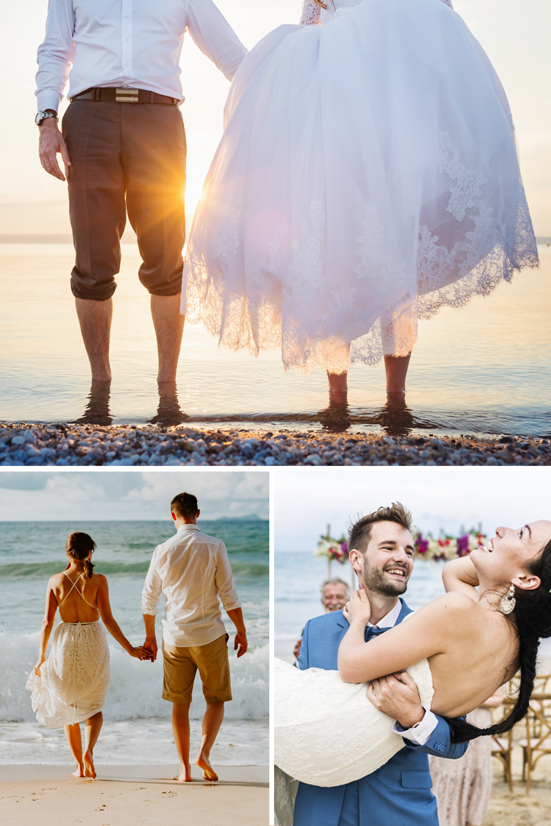 This couple with bowtie and wedding dress during an OBX Beach wedding