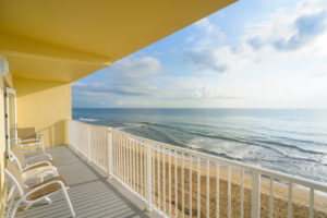 An image of a balcony and view at a resort near Kill Devil Hills sand dunes.