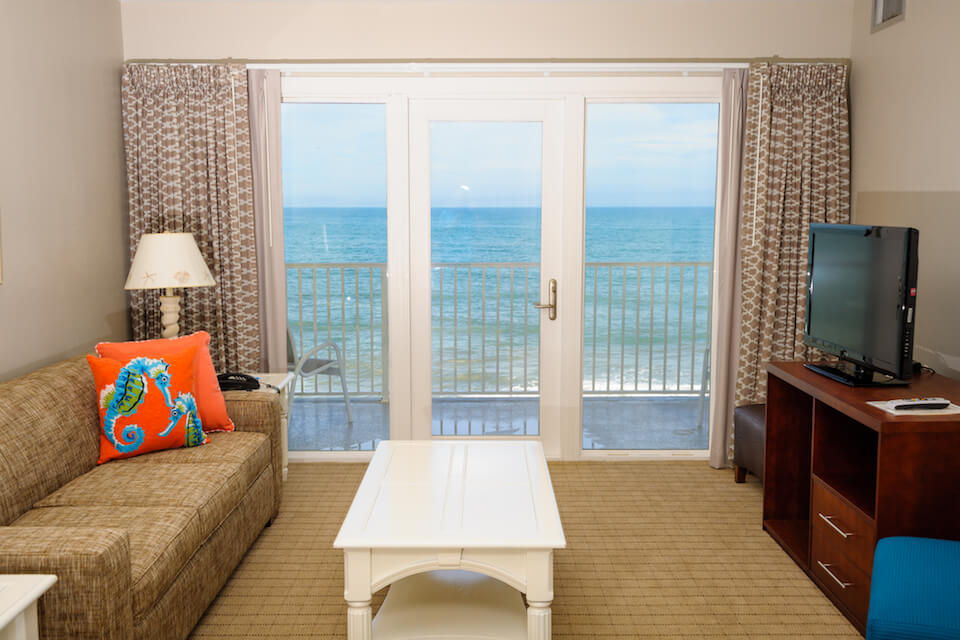 An image of a room at a resort near some of the best things to do in Kill Devil Hills, NC.